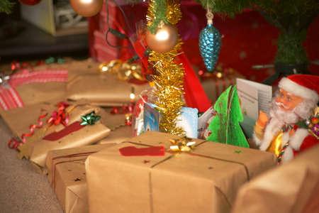 Holiday gifts. Santa Claus. Decorations. Christmas tree.