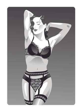 black breast: Hot sexy pin up woman that strip her beautiful body with black lingerie Illustration