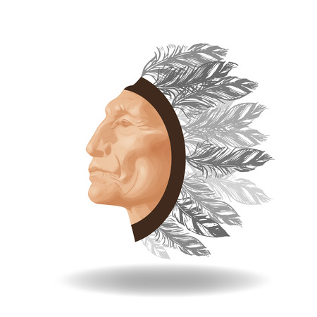 The face of an ancient Native American on a white background