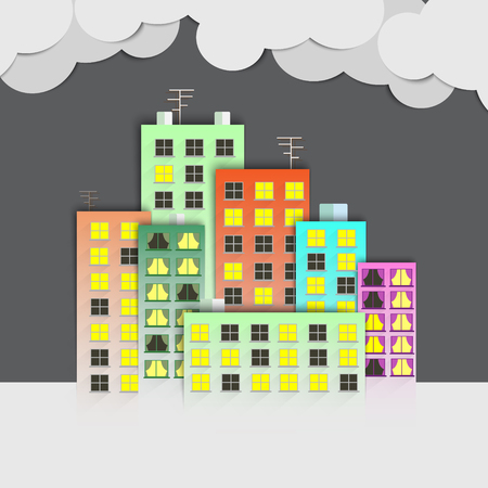 small business woman: Flat town. A set of buildings. Stock Photo