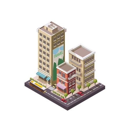 Vector Isometric industrial and business city Illustration
