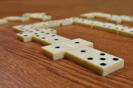 party games in dominoes on the table