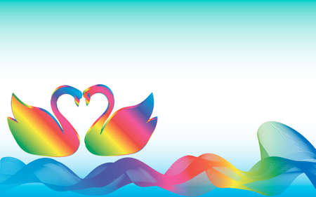 Swans on colorful waves Illustration