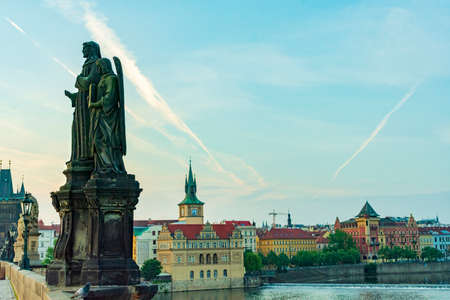 Prague, Czech Republic - view of the Charles Bridge from the old town