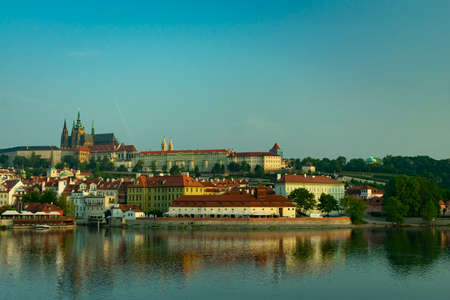 Scenic view on Vltava river and historical center of Prague,buildings and landmarks of old town, Prague, Czech Republic Editorial