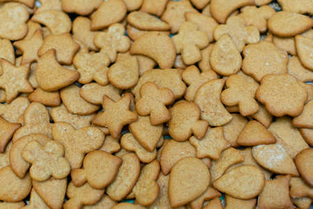 Homemade Gingerbread Gingerbread Cookies for Christmas, closeup