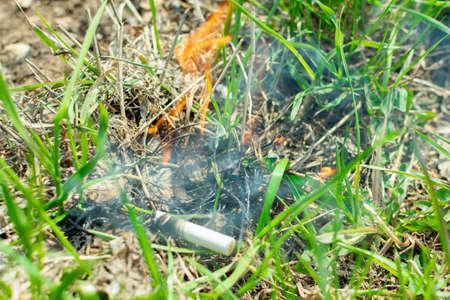 Cigarette causing a dangerous fire