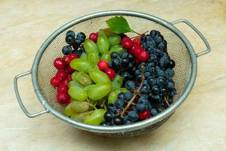 grappoli di uva nera e verde e bacche rosse di biancospino in un cesto di metallo Archivio Fotografico