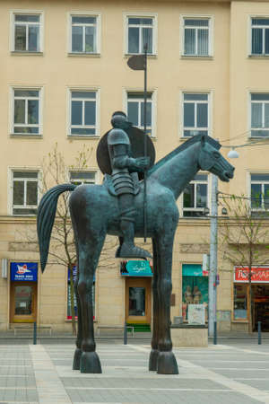 BRNO, CZECH REPUBLIC - MAY, 2020: statue of rider on horse with disproportionate legs in Brno, Czech