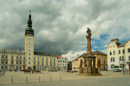 LITOVEL, CZECH REPUBLIC - MAY, 2020: View of the town square Premysl Otakar in Litovel from the town hall tower after renovation in 2015, Czech Republic