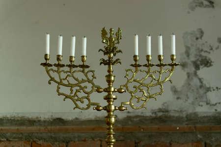 Retro candlesticks with candles Standard-Bild