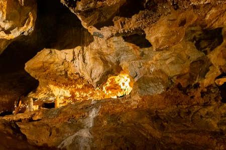 inside karst caves, stalagmites and stalactites Standard-Bild