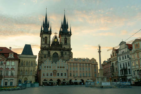 Prague / Czech Republic 07.2020 - view of the main square of the city with historical buildings and sights