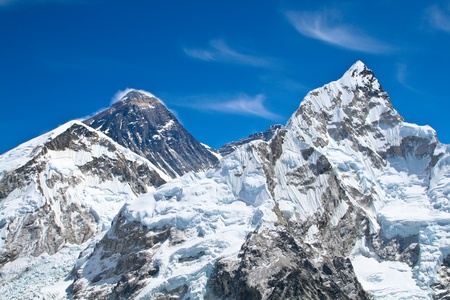 high mountains: Everest and Lhotse mountain peaks. View from Kala Pattar - Nepal