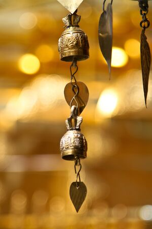 Two tradition asian bells in Buddhist temple in Chiang Mai, Thailand