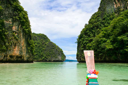 Maya Bay view from long tail boat, Phi phi Island, Krabi Province, South of Thailand. photo