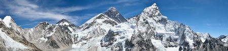 Mount Everest panoramic photo was taken from the top of Kala Pattar Stock Photo
