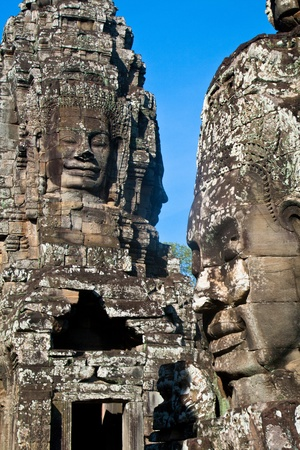 Smiling faces in wat Bayon in Angkor wat complex, Sieam Reap, Cambodia.