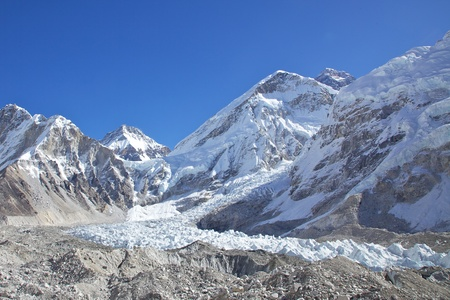 Mount Everest and Khumbu glacier in Nepal. Everest Base Camp. photo