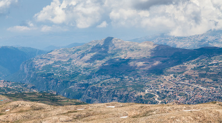 cedars: View over town of Bsharri in Qadisha valley, Lebanon Stock Photo