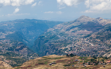 cedars: View over town of Bsharri in Qadisha valley, Lebanon Stock Photo