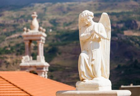 cedars: Beautiful statue of angel in church in Bsharri, Qadisha valley, Lebanon