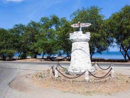 east coast: Old road sign in Dili, East Timor (Timor Leste) Stock Photo