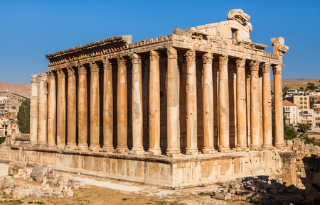 Temple of Bacchus in Baalbek ancient Roman ruins, Beqaa Valley of Lebanon. Known as Heliopolis during the period of Roman Empire.