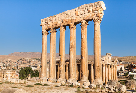 heliopolis: Temple of Jupiter in Baalbek ancient Roman ruins, Beqaa Valley of Lebanon. Known as Heliopolis during the period of Roman Empire.