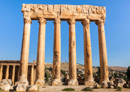 heliopolis: Temple of Jupiter in Baalbek ancient Roman ruins, Bekaa Valley of Lebanon. Known as Heliopolis during the period of Roman Empire.