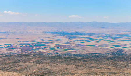 View over Beqaa (Bekaa) Valley and Baalbeck from mountain pass, Lebanon