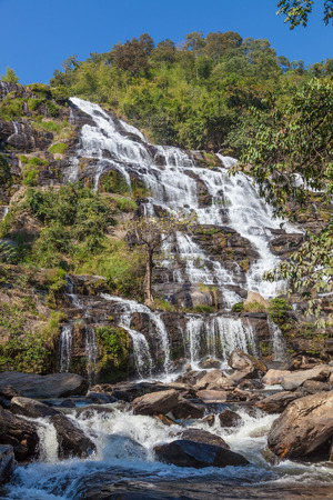 Mae Ya waterfall is tourist attraction and one of the most beautiful waterfall in Chiang Mai, Thailand. Doi Inthanon National Park.