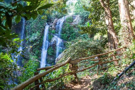Mok Fa waterfall is tourist attraction and one of the most beautiful waterfall in Chiang Mai, Thailand.