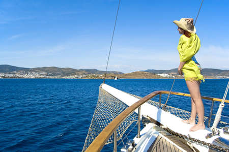 woman on bowsprit photo