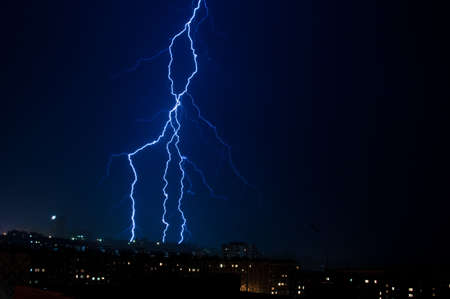 vertical lightning over the city Stock Photo - 15252981