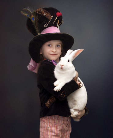 bonnet: Girl in a hat and with rabbit