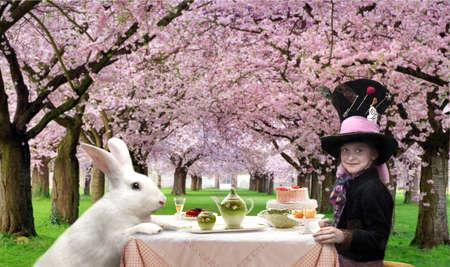 alice au pays des merveilles: Fille dans un chapeau et de lapin