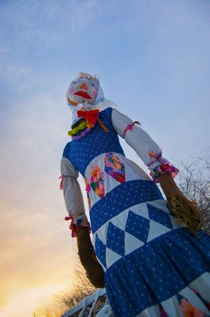 burning man: sad doll of Shrovetide before the burning