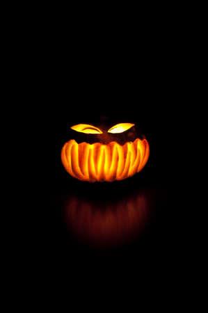 angry vegetable: Pumpkin in the dark  Halloween night soon