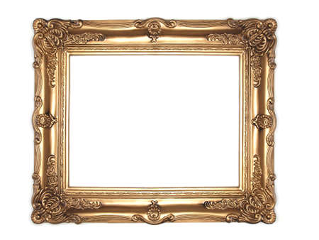 ornate gold frame isolated on white background