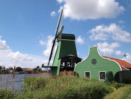 Dutch windmill in Zaanse Schans    Stock Photo