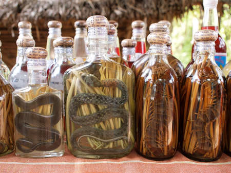 moonshine: rice whisky with snakes