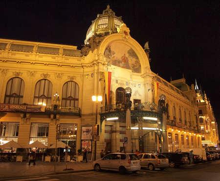 municipal: Prague at night: Municipal House