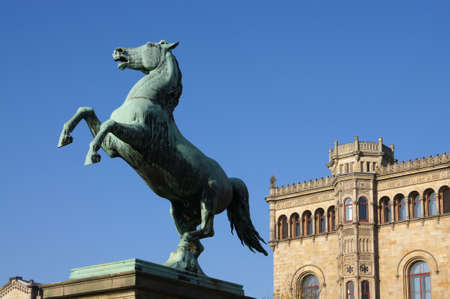steed: bronze statue of the Saxon Steed in Hanover, Germany                      Stock Photo