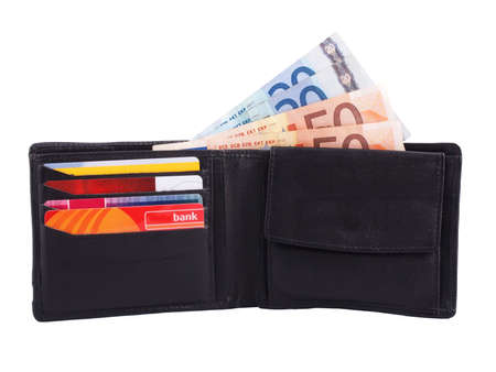 wallet with euro cash and credit cards Standard-Bild