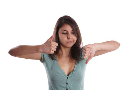 indecisive woman with one thumb up and one thumb down Stock Photo - 17701906