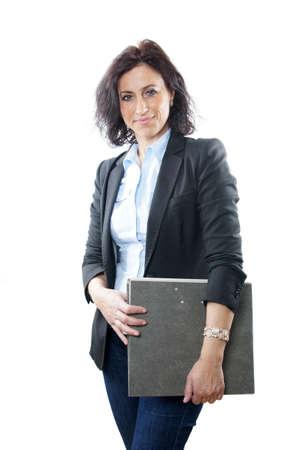 40 50: business woman holding folder Stock Photo