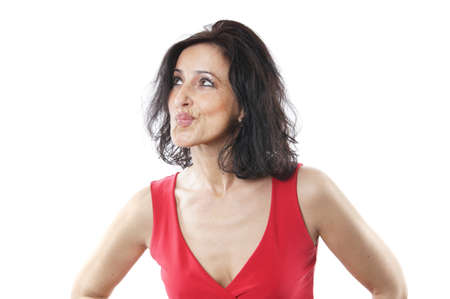 middle age women: woman in her forties pouting