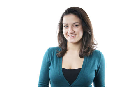 busty: mujer joven y sonriente