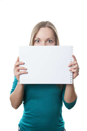 young blonde woman holding blank sign with copyspace Stock Photo